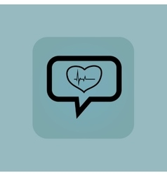 Pale blue cardiology message icon vector