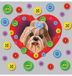 Card with a yorkshire terrier vector