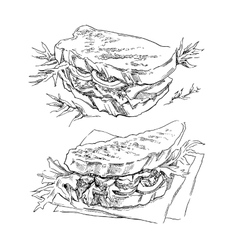 Hand made sketch of sandwich vector