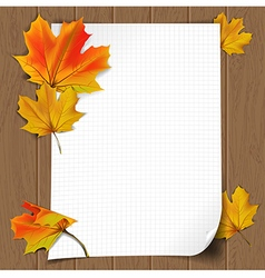 wooden background with paper1 vector image