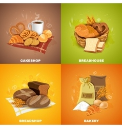 Bakery breadshop 4 flat icons square vector