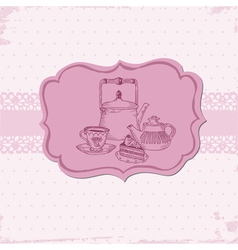 Cute card with cake and teapots vector