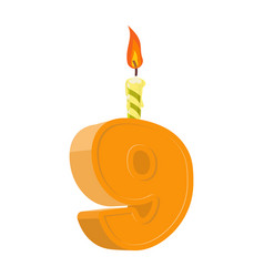 9 years birthday number with festive candle for vector