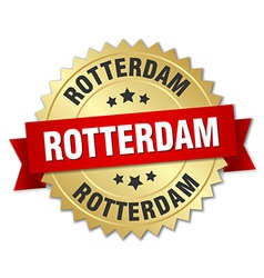 Rotterdam round golden badge with red ribbon vector