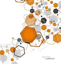 Abstract geometric orange hexagon background vector image vector image
