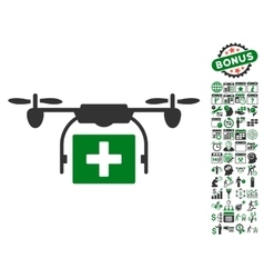 Ambulance Drone Icon With Bonus vector image vector image