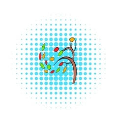 Autumn tree icon pop-art style vector