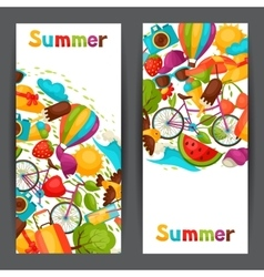 Banners with stylized summer objects Design for vector image vector image
