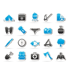 Camping travel and Tourism icons vector image
