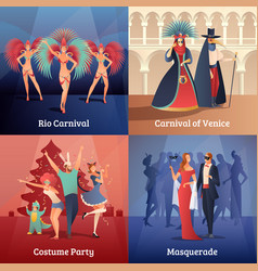 carnival party concept icons set vector image vector image