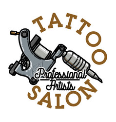 Color vintage tattoo salon emblem vector