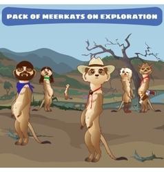Cowboys meerkats on guard in the wild west vector