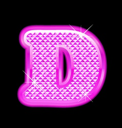 D letter pink bling girly vector image