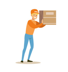 delivery service worker holding big box on the vector image vector image