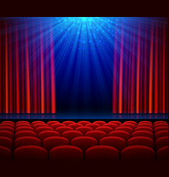 empty theater stage with red opening curtain vector image vector image