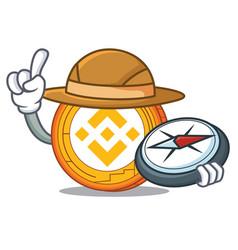 Explorer binance coin mascot catoon vector