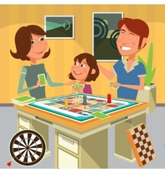 Family playing a board game vector