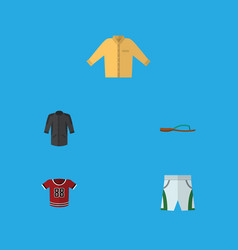 Flat icon garment set of trunks cloth t-shirt vector