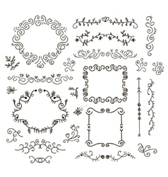 floral decor set of hand drawn vintage vector image