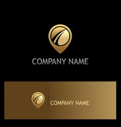 Gps location technology gold logo vector