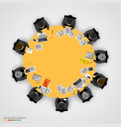 Group of businessman having a meeting vector