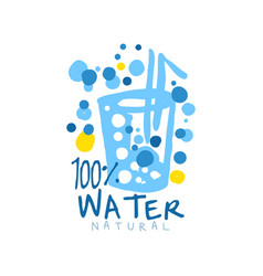 Hand drawn glass of water with a straw and air vector