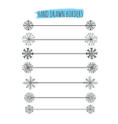 Hand drawn snowflakes divider design vector