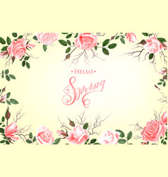 Hello spring background with roses hand drawn vector