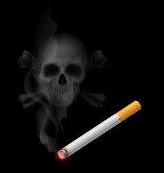 Human scull appears in cigarette smoke on black vector