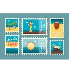 Island beach stamp set Summer Vacation vector image