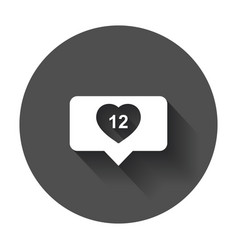 Like comment follower icon flat with heart with vector