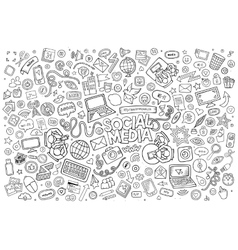 line art Doodle cartoon set of objects and vector image