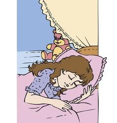 Little girl sleep vector