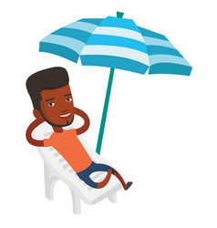 Man relaxing on beach chair vector