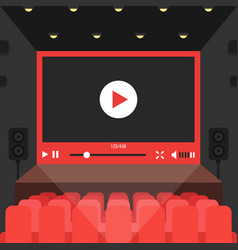 Online video in cinema theater vector