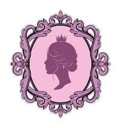 Profile silhouette of a princess in frame vector