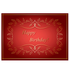 Red and gold greeting card - happy birthday vector