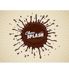 Round chocolate splash with vector image vector image