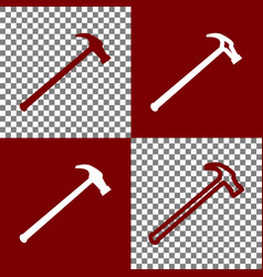 Saw simple icon bordo and white icons and vector