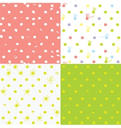Seamless dots patterns cute design for children vector image vector image