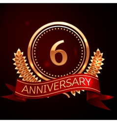 Six years anniversary celebration with golden ring vector