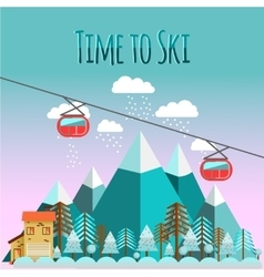 Ski landscape in flat style vector image vector image