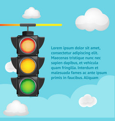 traffic light sky background template vector image vector image