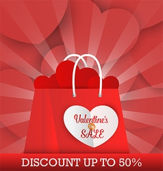 Valentines Day sale background with shopping bag vector image vector image