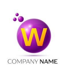 W letter splash purple dots and circle bubble vector