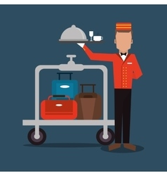 Bellboy baggage hotel service icon vector
