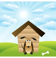 Dog in house on green grass field vector