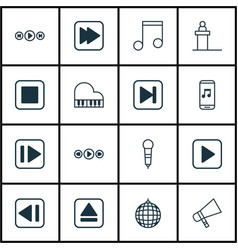 set of 16 music icons includes stop button vector image