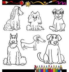 Cartoon dog breeds coloring page vector