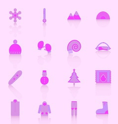 Winter icons with reflect on pink background vector image